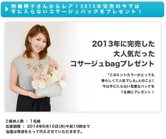 西嶋翔子さんからレア!2013年完売の今では手に入らないコサージュバッグをプレゼント!